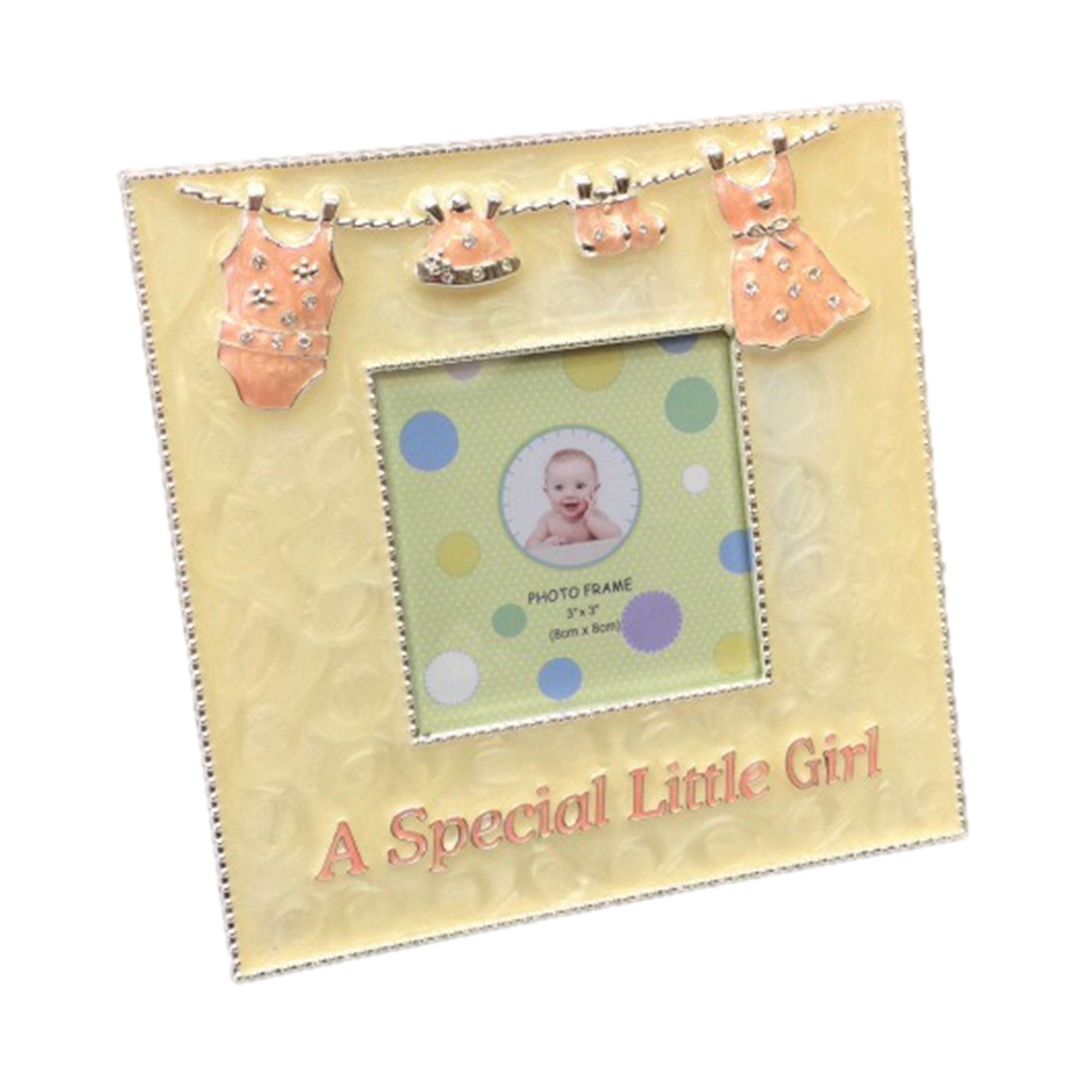 Baby Girl Silvertone Metal Enamel Picture Frame A Special