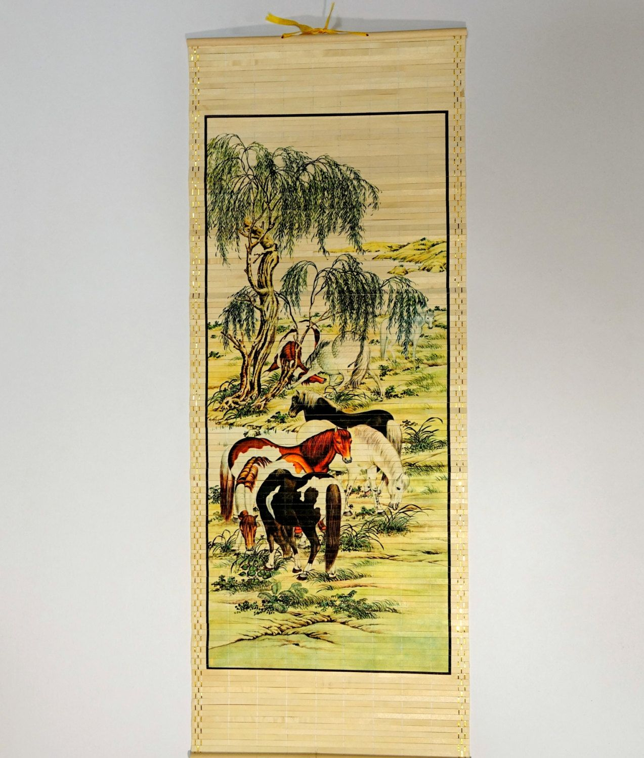 Horse Art, Asian Art, Japanese Scroll, Mid Century Wall Art, Gift ...