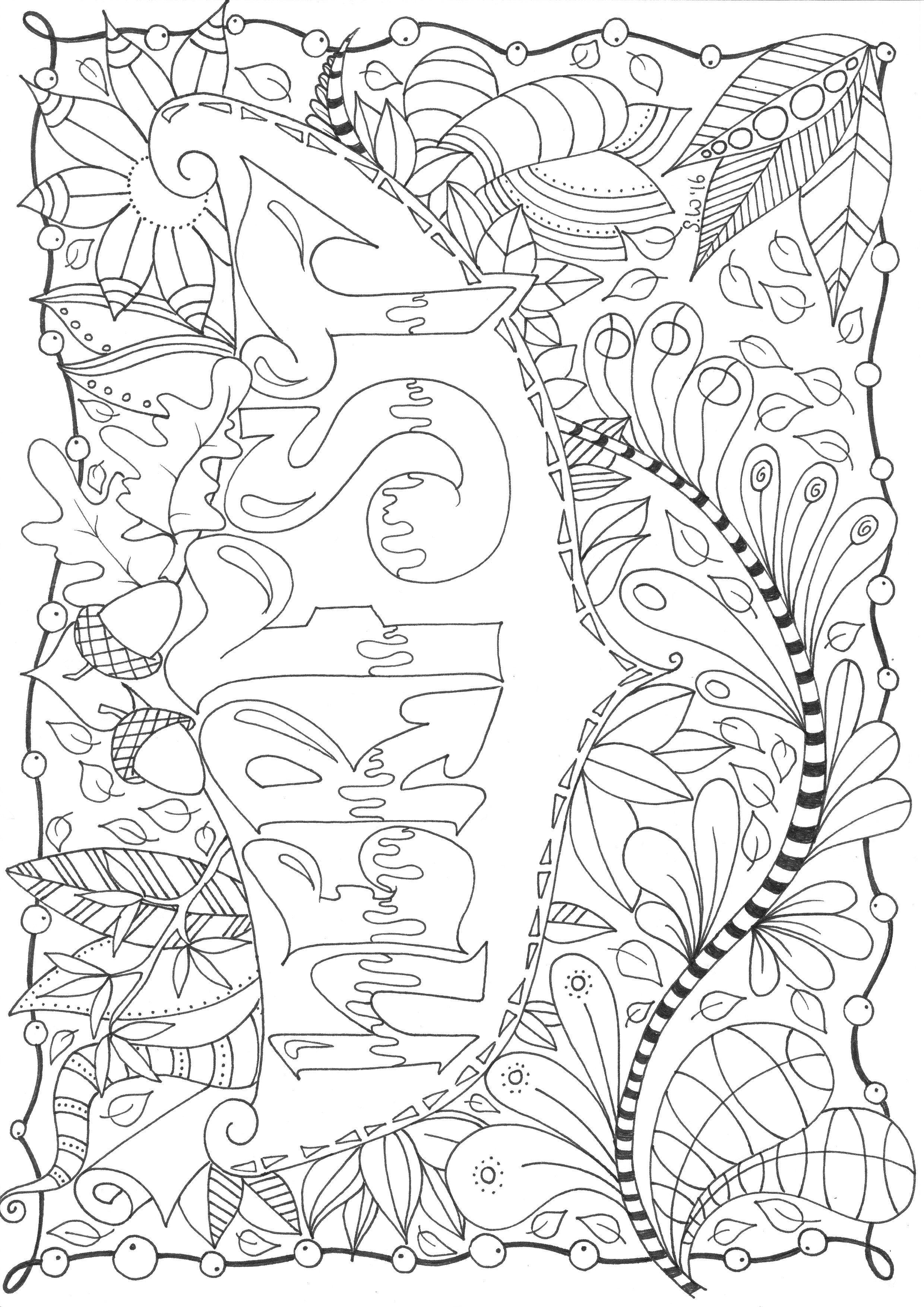 Kleurplaten Volwassenen Herfst.Herfst Autumn Doodle Zentangle Kleurplaten Voor