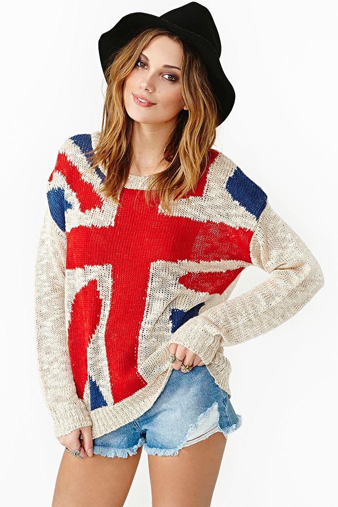 Union Jack Knit Knit Sweater #2dayslook #KnitSweater #watsonlucy723 #ramirez701 #anoukblokker www.2dayslook.com