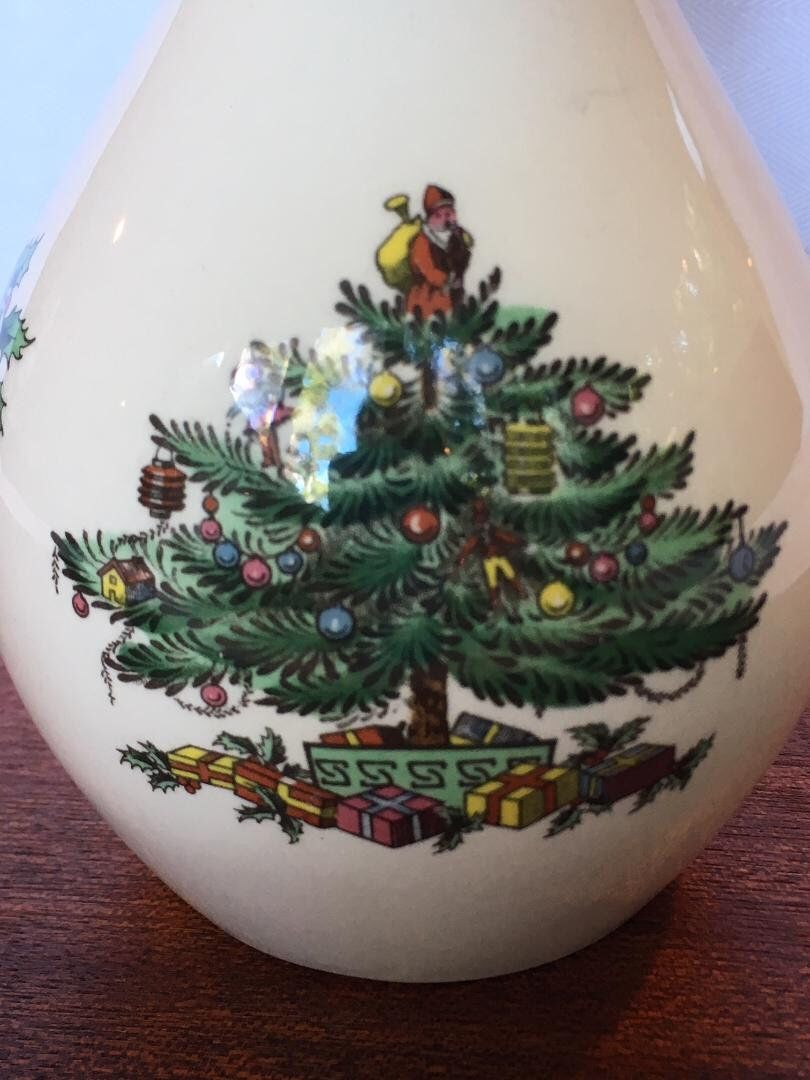 Vintage Spode Christmas Tree Bud Vase 7 1 2 Inches