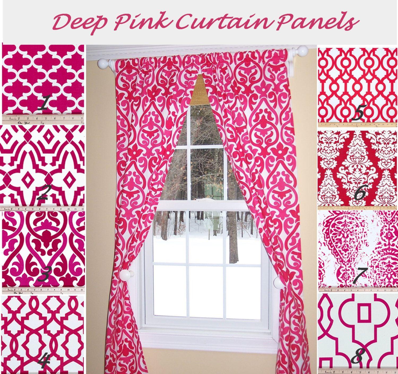 Hot pink curtains - Pink Curtains Damask Curtains Deep Pink Curtains Custom Curtains Pair Drapery Panels