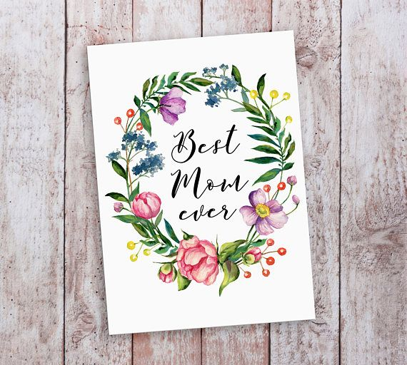 Flower Mothers Day Card Mum Card Best Mom Ever Mothers Day Card