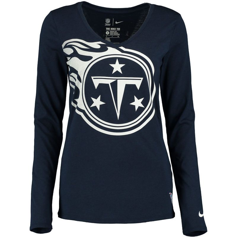 Tennessee Titans Nike Women s Logo Wrap Tri-Blend V-Neck Long Sleeve T-Shirt  - Navy f68837ce4