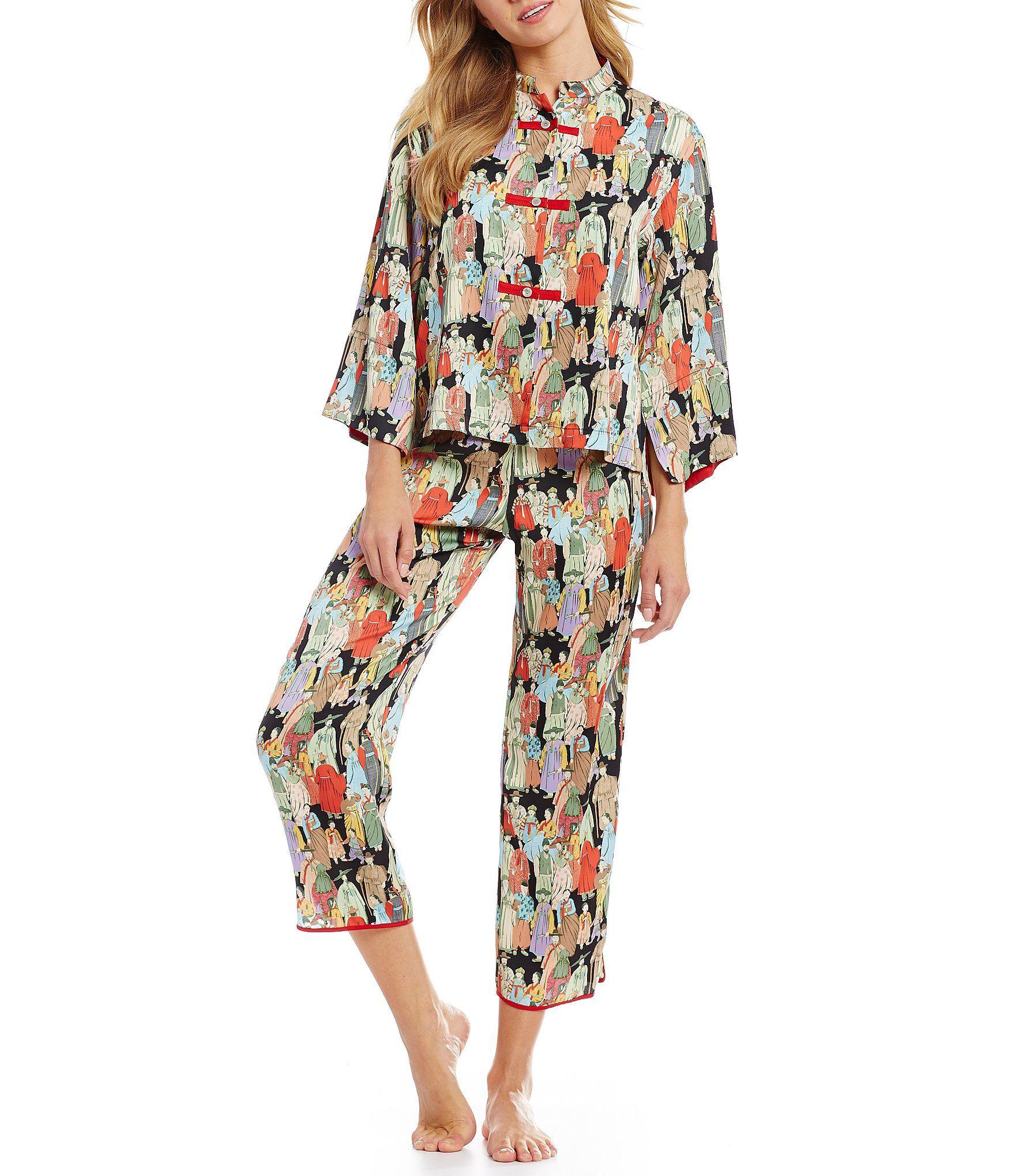 Natori Dynasty Crowded City Satin Pajamas Dillards