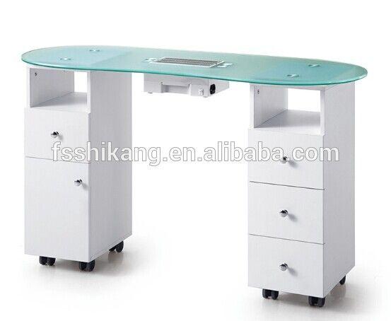 Blanco tapa de cristal mesa de manicura saln de uas con