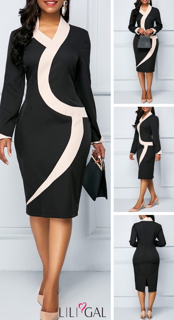 96c58d28 USD29.45 Back Slit Long Sleeve Color Block Sheath Dress #liligal #dresses