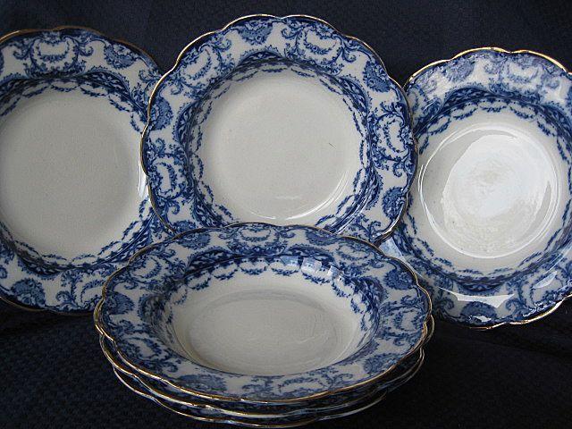 "Six 8 1/4"" Flow Blue Bowls by Sampson Hancock & Sons Pattern ""Valencia"""