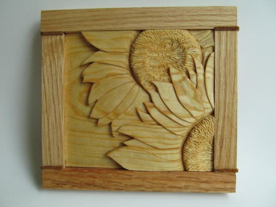 Sunflower Carving Hand Carved Sunflower Wall Decor Rustic Home Decor ...