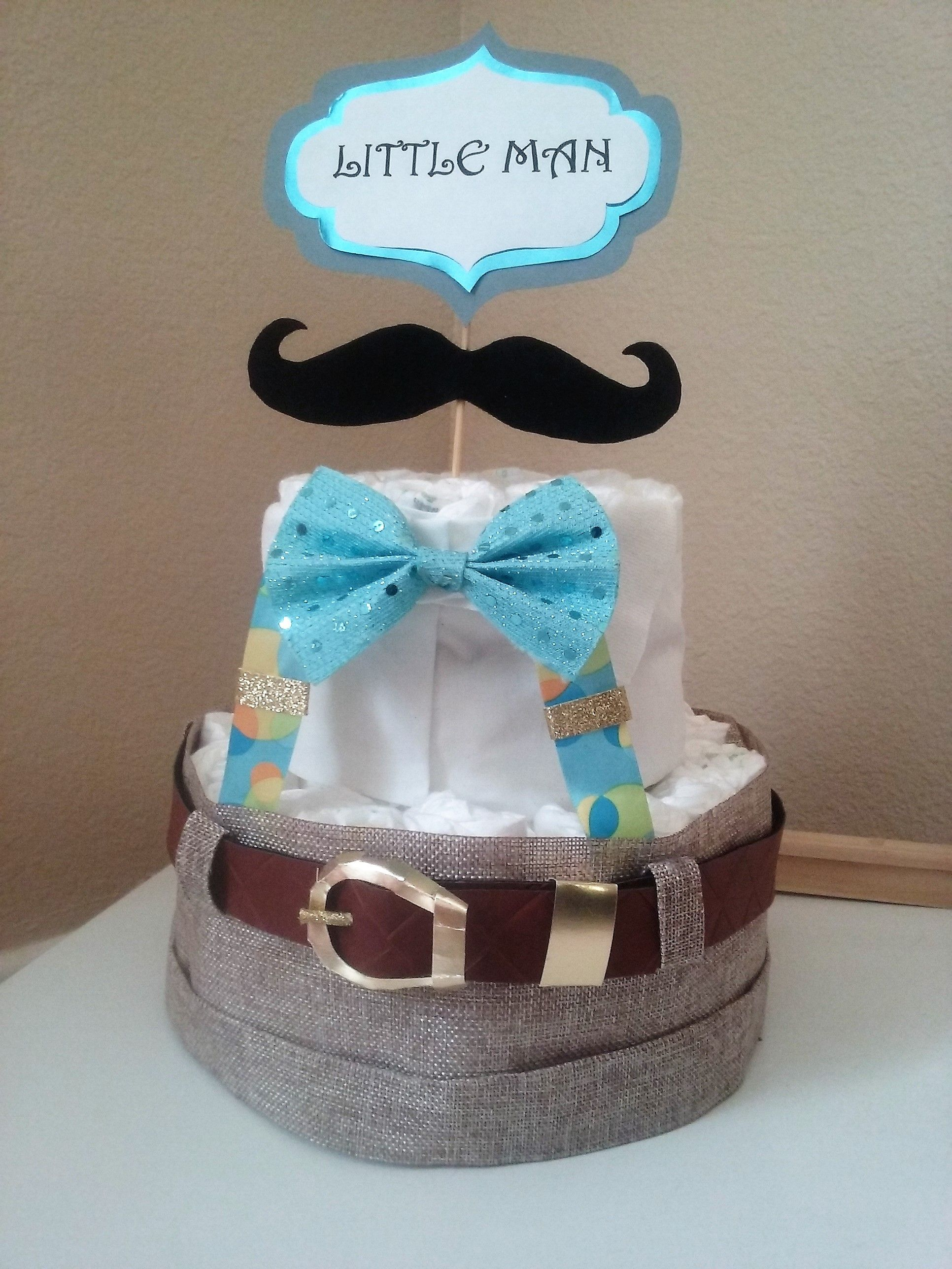 Little Man Baby Shower Diaper Cake Mustache Bow Tie Adorable