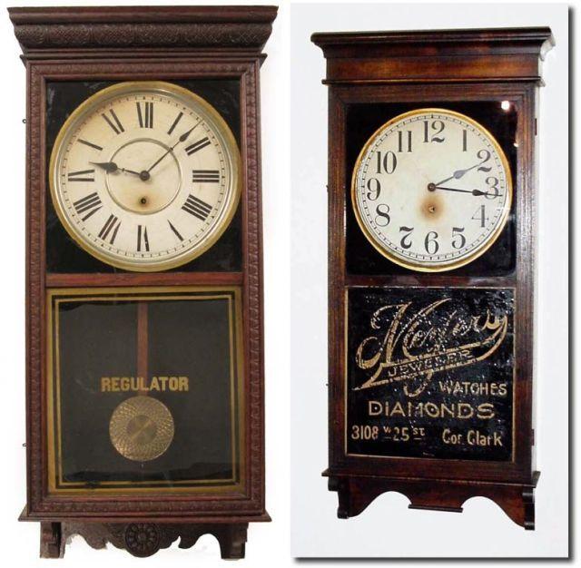 Vintage Wood Regulator Wind Clock Antique Clocks