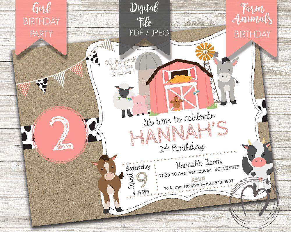 FARM ANIMALS Girl Birthday Party Invitation/Barnyard/Pink Coral ...