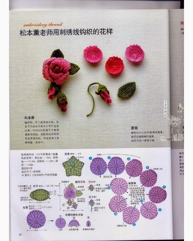 flower and leaves crochet pattern | Flower | Pinterest