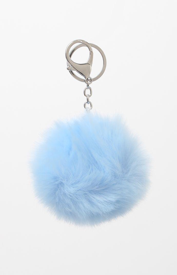 b9e2d1ac1263 Baby Blue Faux Fur Pom-Pom Keychain