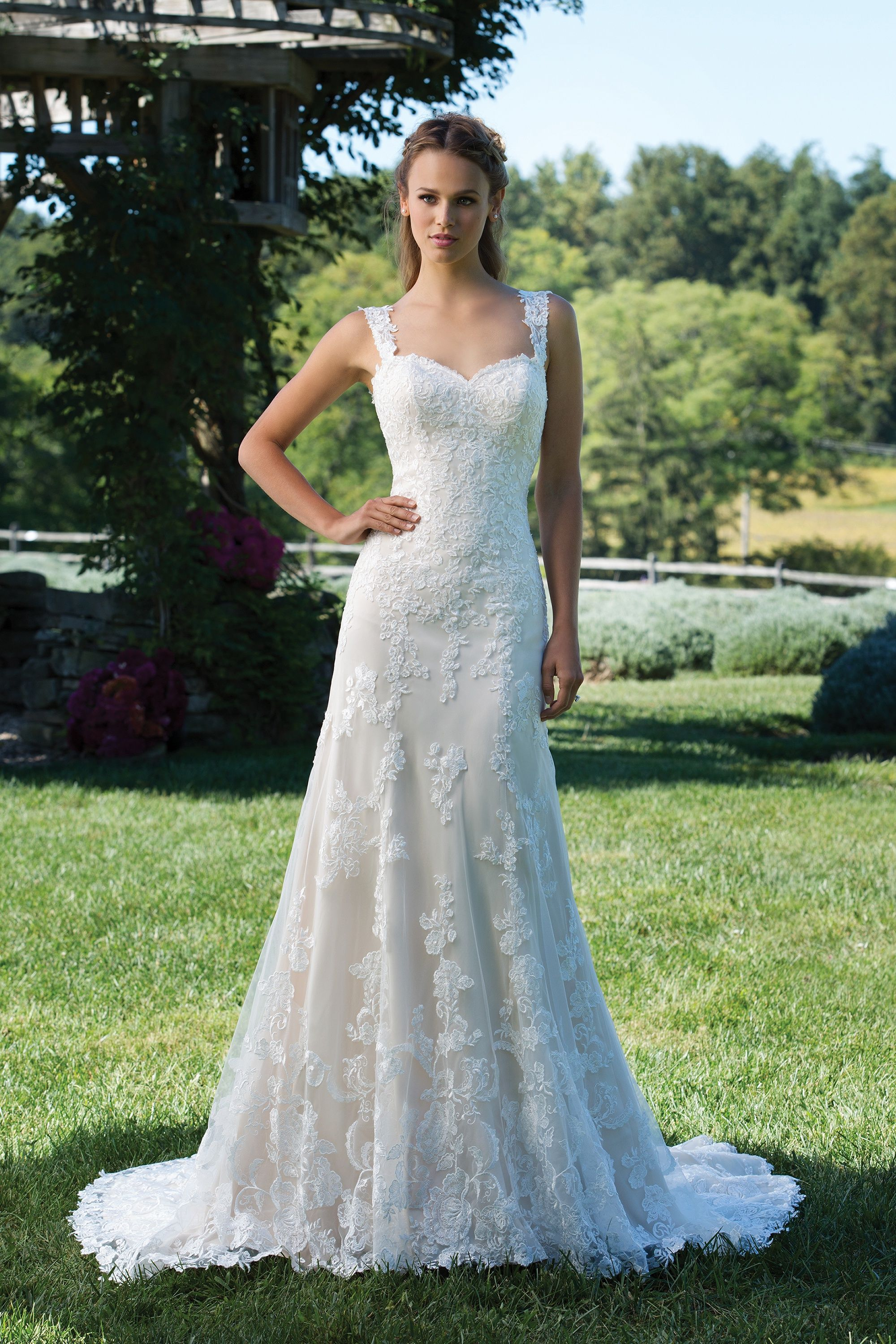 Dresses for wedding reception for bride  Romantic Fit and Flare Gown with Sequined Lace Appliqués  Kld