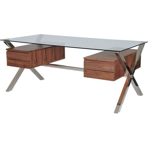 Found It At Allmodern Emiliano Writing Desk With 4 Drawers Glass Desk Office Furniture Modern Walnut Desks