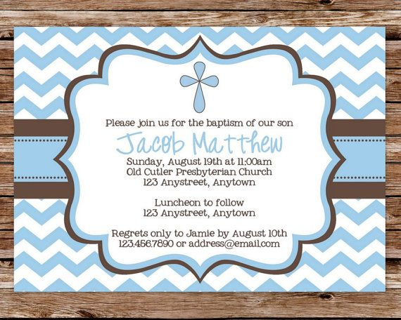 printable blue and brown chevron baby boy dedication, christening, Birthday invitations