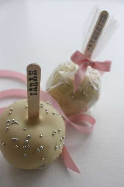 personalized cake pops  maybe for escort cards?