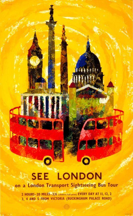 UK London 12 2 VINTAGE TRAVEL POSTER