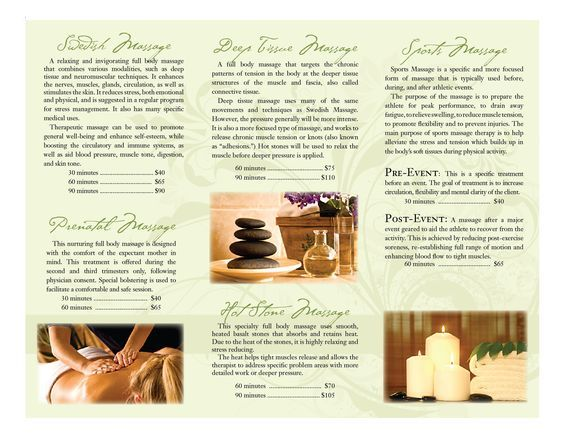 Massage Therapy Brochures  Portfolio  Massage Therapy Brochure