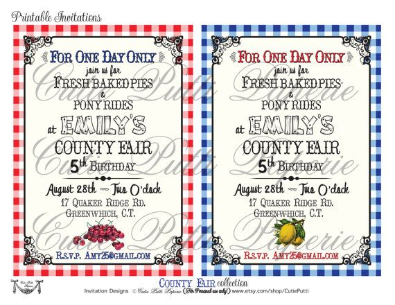 County Fair Party State Fair Party Country Fair by CutiePutti - fresh birthday party invitation designs
