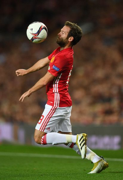 Juan Mata of Manchester United controls the ball during the UEFA Europa League group A match between Manchester United FC and FC Zorya Luhansk at Old Trafford on September 29, 2016 in Manchester, England.