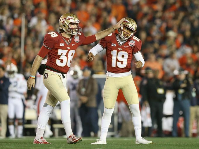 Florida State Seminoles Kicker Roberto Aguayo 19 Is Congratulated By Punter Cason Beatty 38 After H Florida State Florida State Seminoles Championship Game