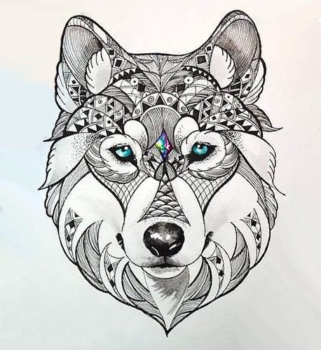 0a51962a6 Awesome wolf with beautiful blue eyes. Style: Abstract. Color: Black. Tags:  Cool, Best, Creative, Beautiful