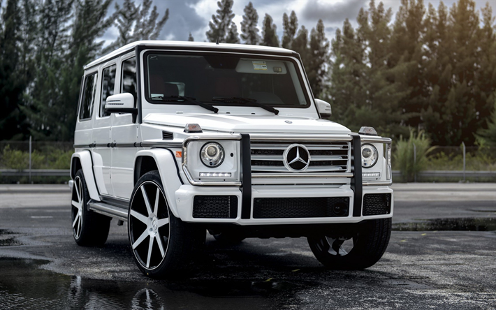 Download Wallpapers Mercedes Benz G63 Amg 2017 Suv White G63