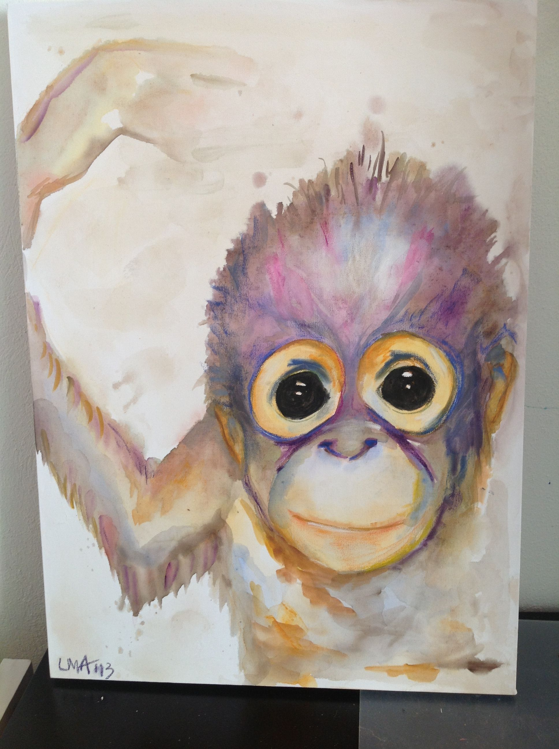 Baby Orangutan Water colour and pastel 500 x 750 mm  $ 275