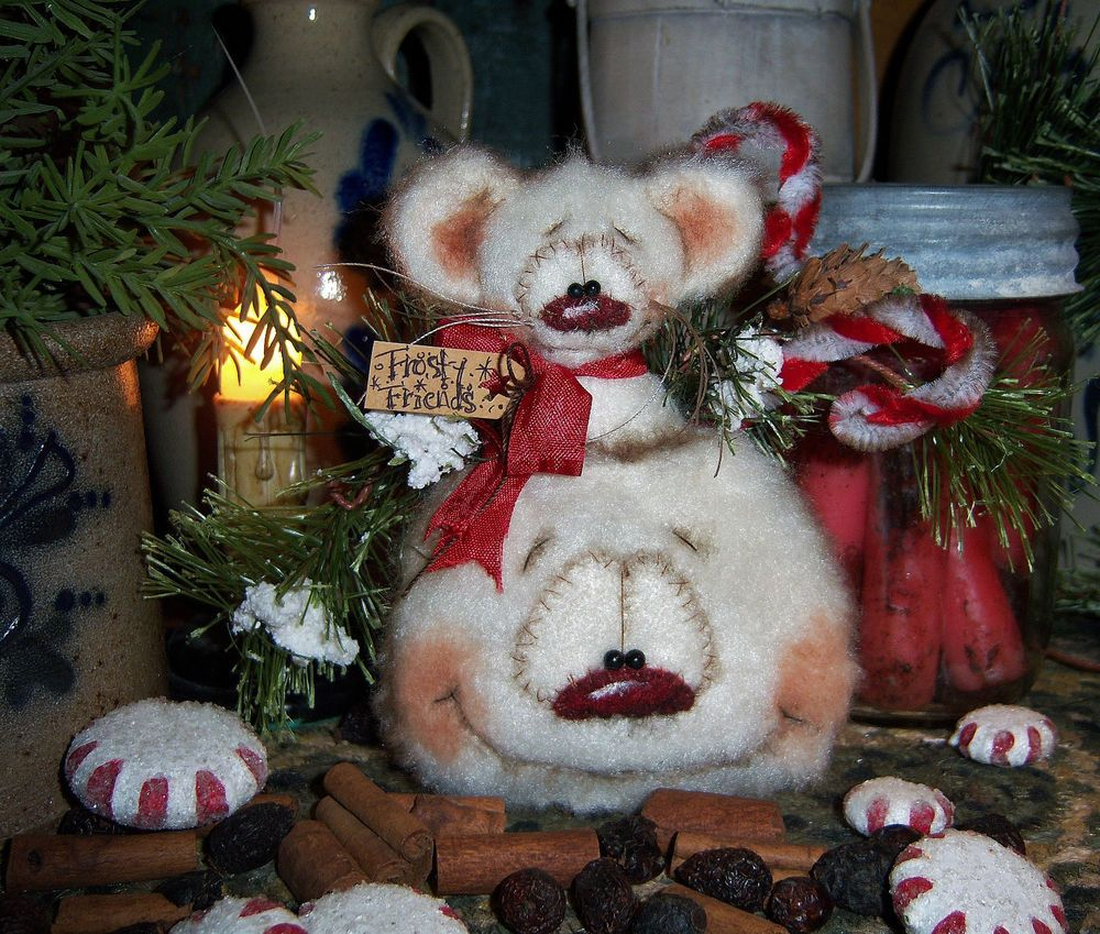 "Primitive Patti's Ratties 5"" Snowman Frosty Mouse Christmas Ornament Bear Doll"