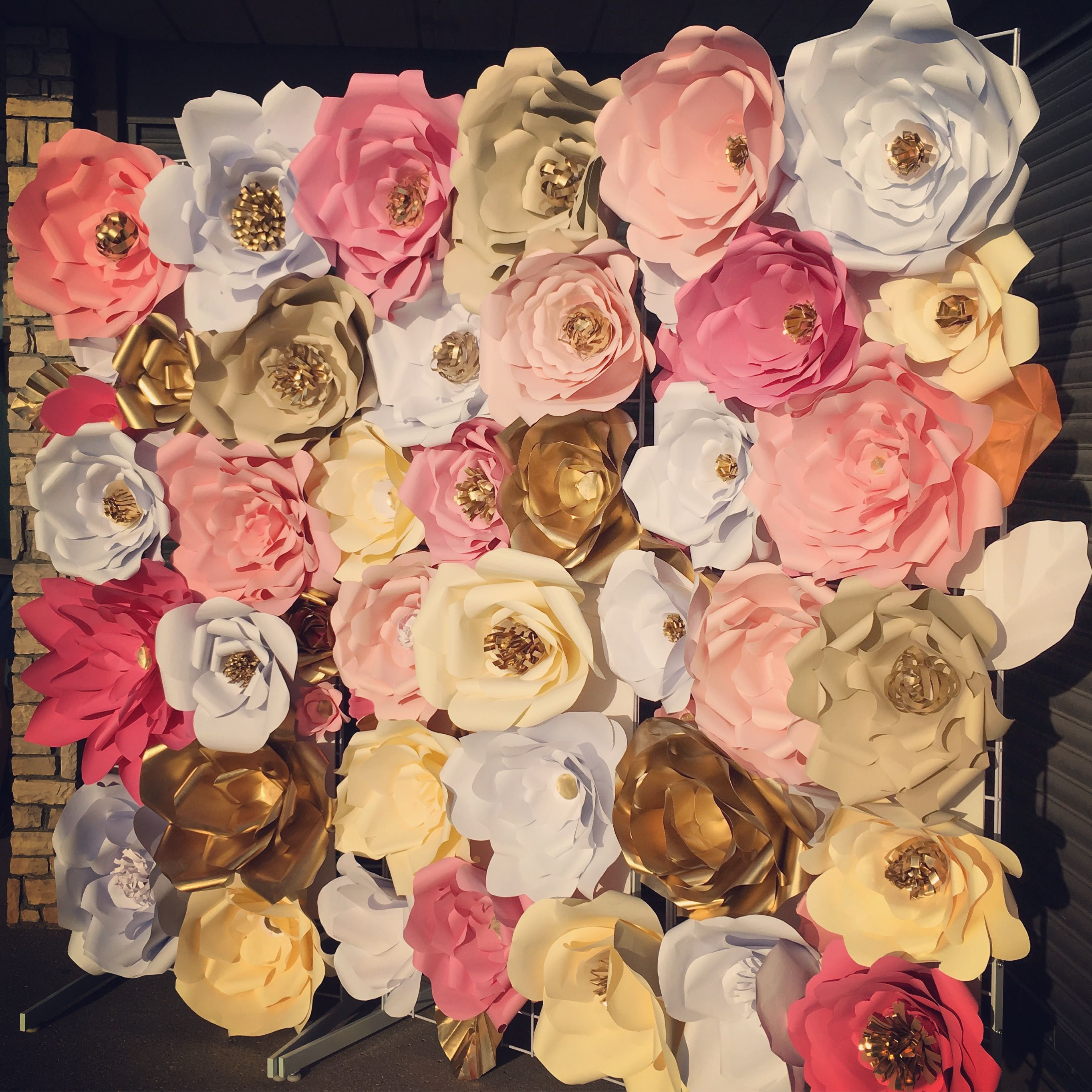 Wedding paper flower backdrop gold pinkwhite and beige paper wedding paper flower backdrop gold pinkwhite and beige paper flowers dhlflorist Choice Image