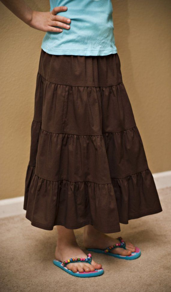 Girls Modest Tiered Peasant Prairie Skirt - Choose Your Premium ... 2f065d5cdd552