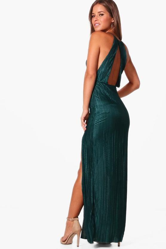 8a9dc61c6fd Petite Gigi Pleated Thigh Split Maxi Dress