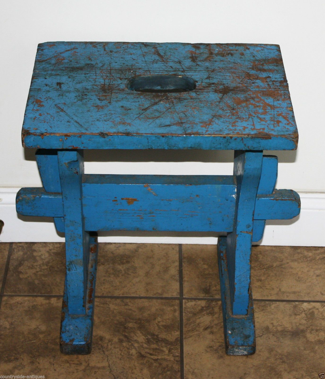 Antique Country Primitive Small Wooden Bench Old Blue