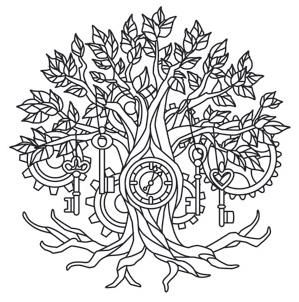 Time Tree Steampunk Coloring Coloring Pages Pattern Coloring Pages