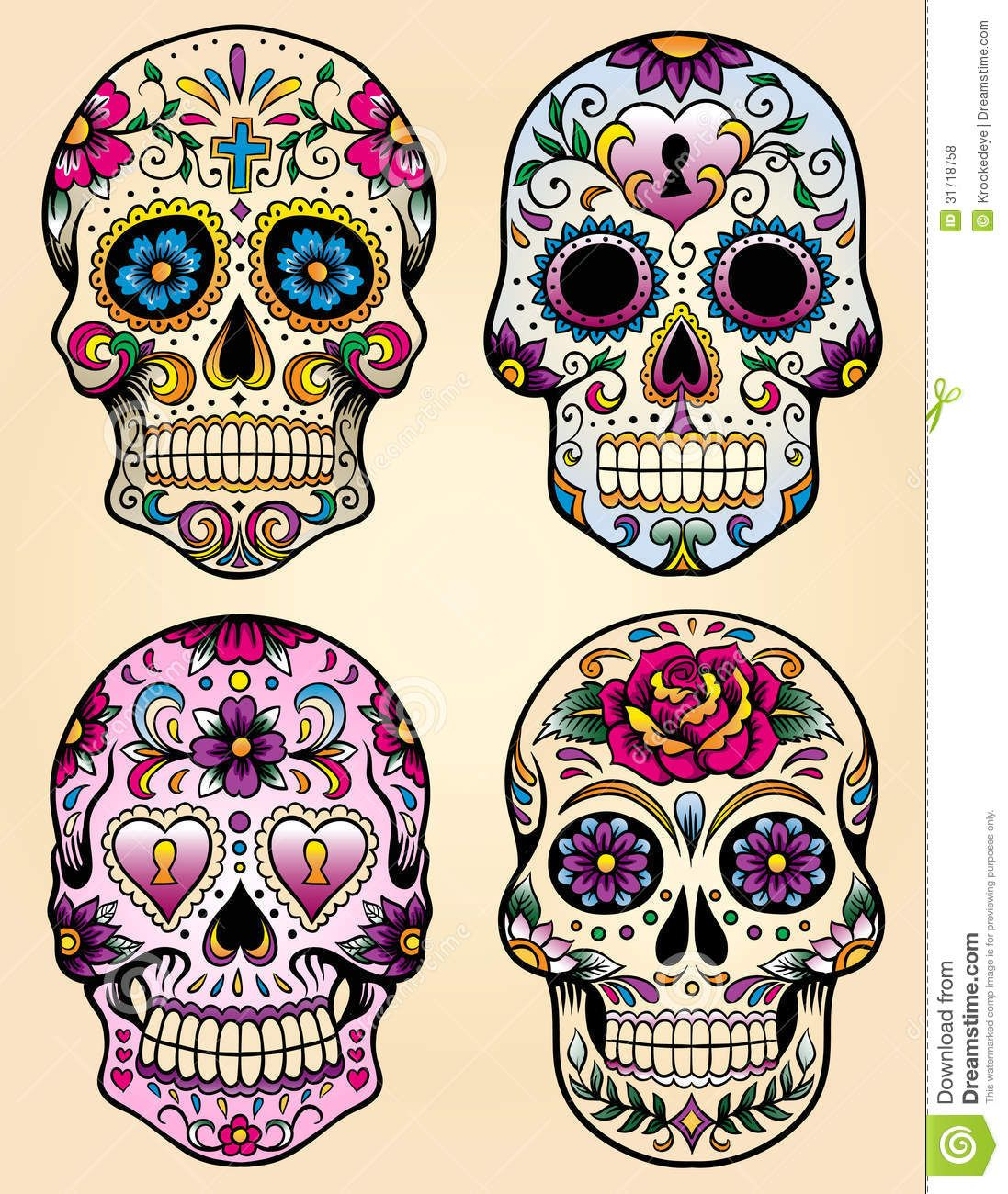 Day of the dead vector illustration set download from over 26 million high quality stock - Tatouage crane mexicain ...