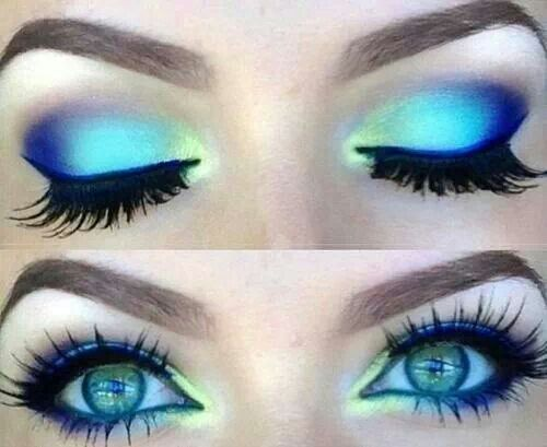 Fun, vibrant, colorful eye makeup in blues