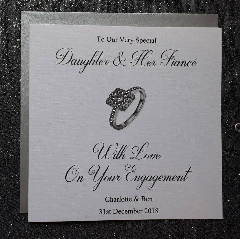 Handmade Personalised 6 Square Engagement Card Engagement Cards