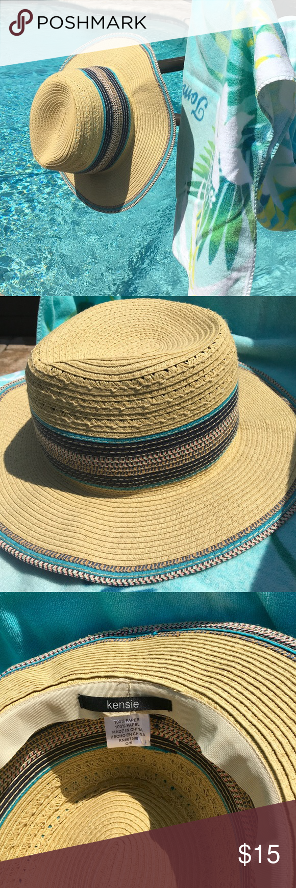 Kensie Straw Hat For Summer Kensie Straw Hat Accent Colors