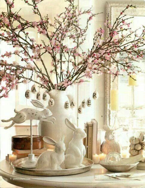 Beautiful Easter Table Decor  I Love Cherry Blossoms. Love The White  Bunnies!