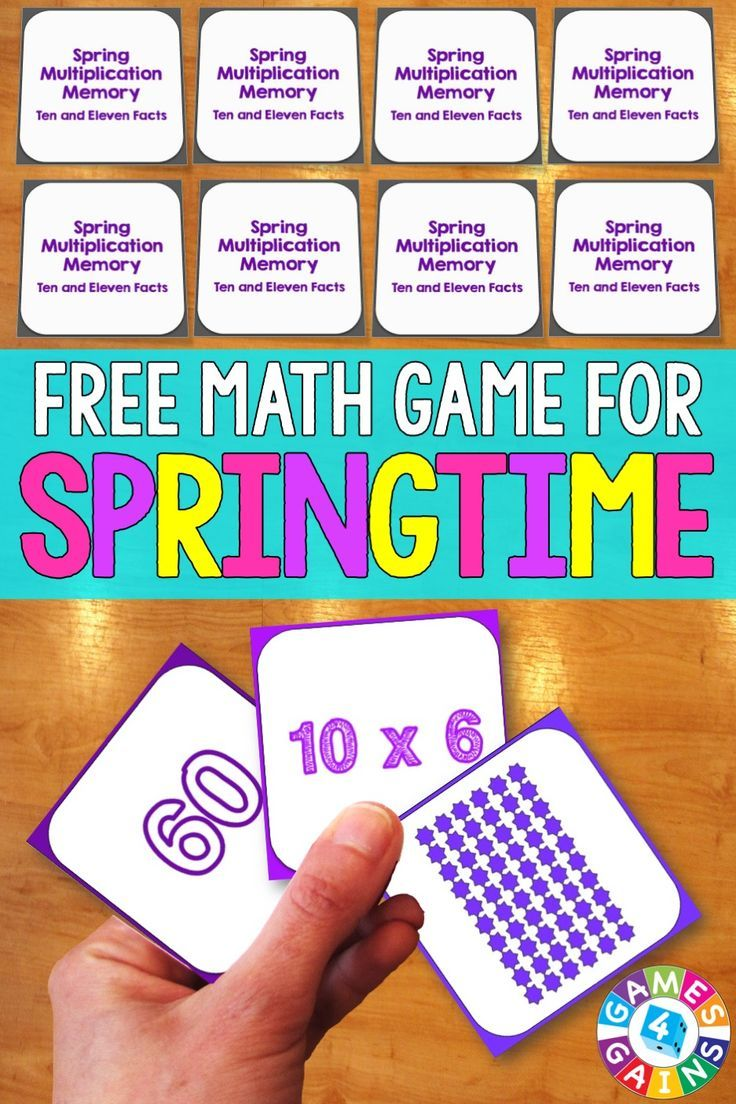 FREE Spring Math Multiplication Memory Game makes practicing tens ...