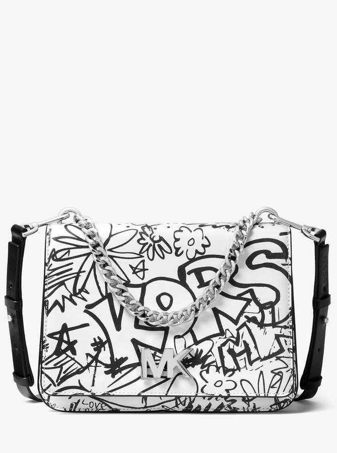 21c0d37d0ad6 Michael Michael Kors Mott Large Logo Grafiti Leather Crossbody Yes CS Bags  Bafs Mk