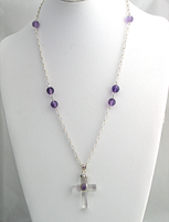 Crystal Cross With Sterling Silver and Amethysts