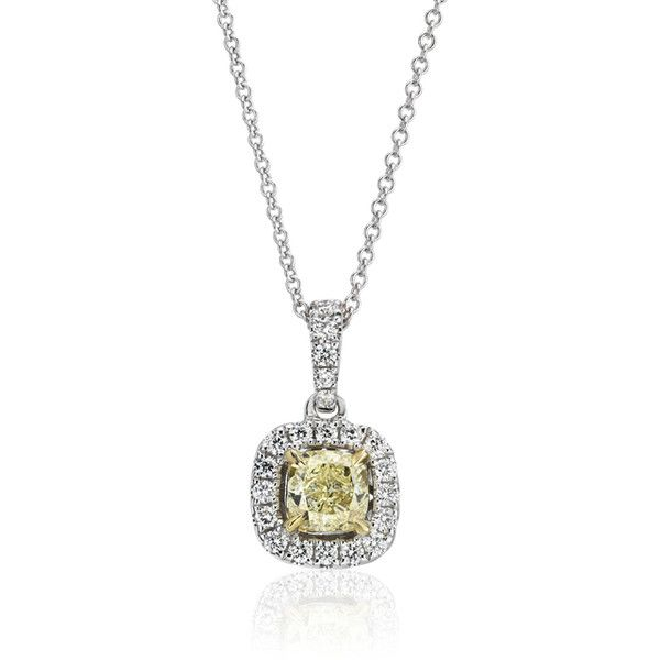 Blue nile yellow diamond cushion cut halo pendant 25855 mad blue nile yellow diamond cushion cut halo pendant 25855 mad liked on aloadofball