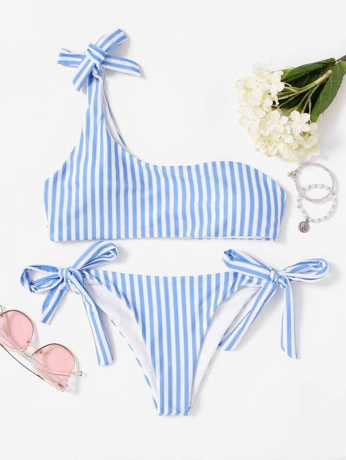 93c0f2c93a02d Shein One Shoulder Top With Tie Side Bikini Set in 2019 | ✨M y ...