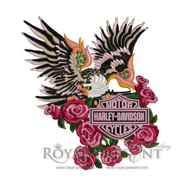 Harley davidson logo machine embroidery design
