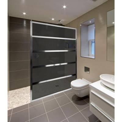 Coastal Shower Doors Gridscape Series V2 36 In X 72 In Divided Light Shower Screen In Chrome And Smoked Grey Shower Doors Coastal Shower Doors Shower Screen