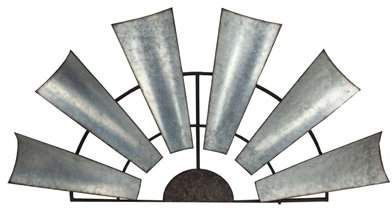 This is so cool!! It's half of a galvanized antique windmill.  Add that farmhouse chic to any blank wall with this half windmill.  So awesome!!! #farmhousechic #homedecor #affiliate