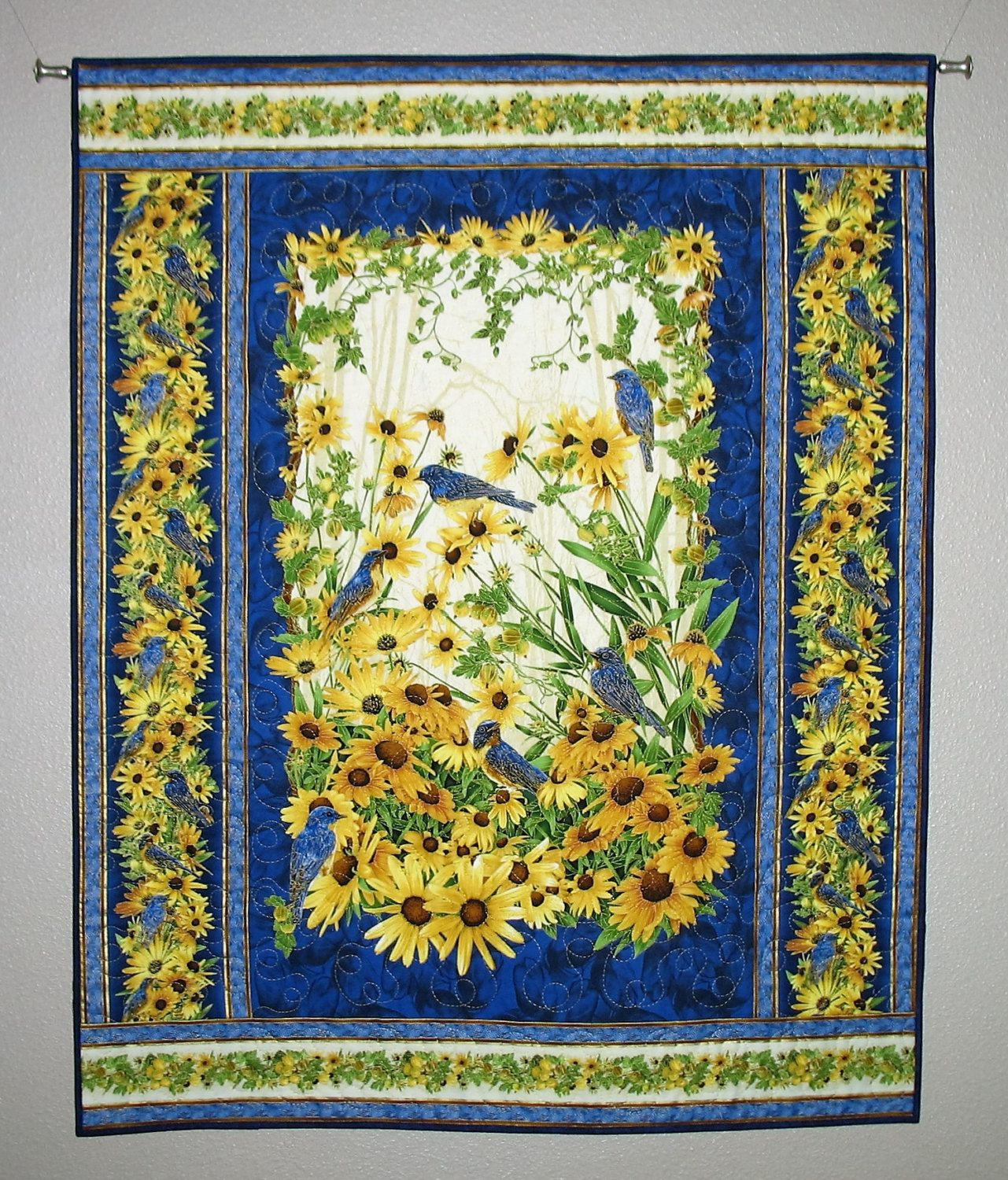 Sunflower Wall Hanging, Bluebirds, fabric from Timeless Treasures ...